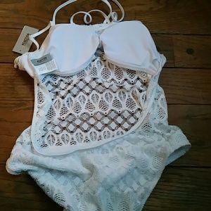 Reaction Kenneth Cole Swim - Women's one piece lace bathing suit.